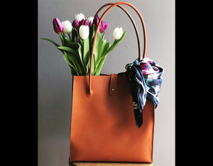 Hand Stitched Leather Tote Bag (Made to Order)