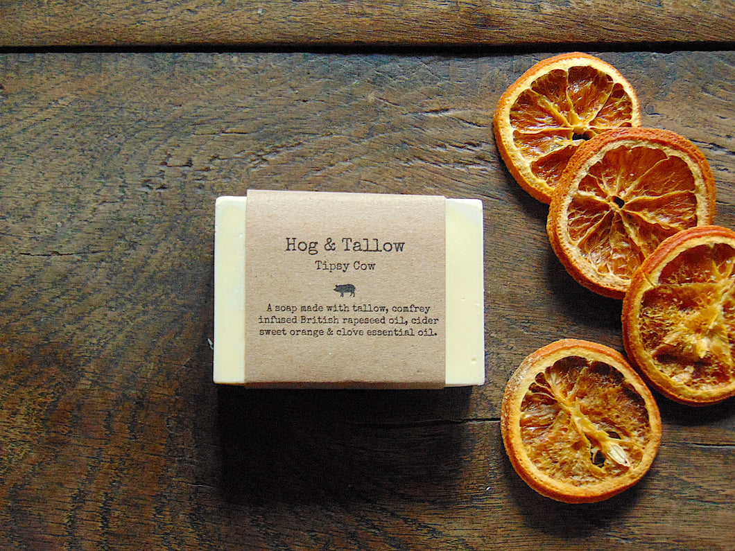 Tipsy Cow Cider, Sweet Orange & Clove Tallow Soap Bar