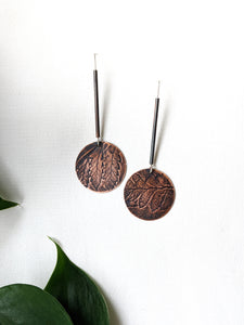 Botanical Fern Copper Drop Earrings