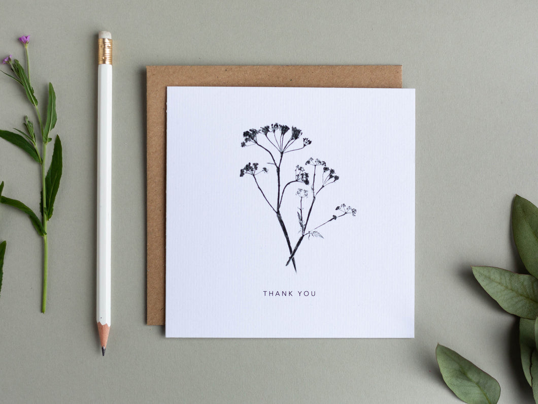 'Thank You' Botanical Print Cows Parsley Greeting Card