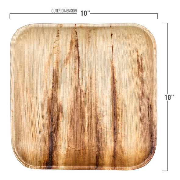 "10"" Square Palm Leaf Eco Friendly Disposable Dinner Plates"