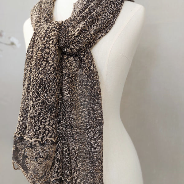 """GISELLE"" BROWN full lace scarf"