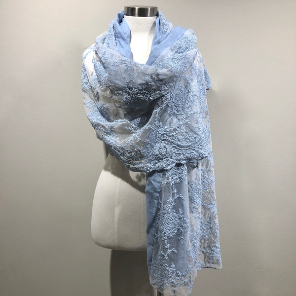 """CORINNE""  lace and linen scarf"