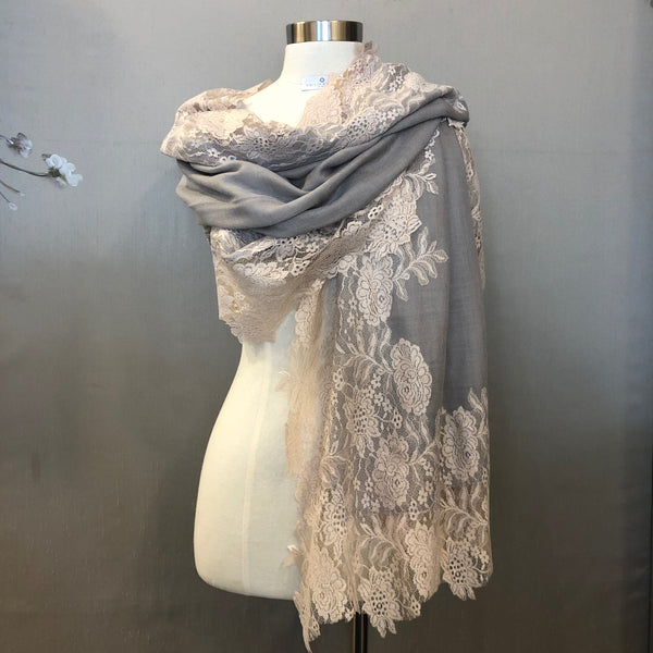 """TEATRO"" Wool & Silk scarf Grey-Peach"