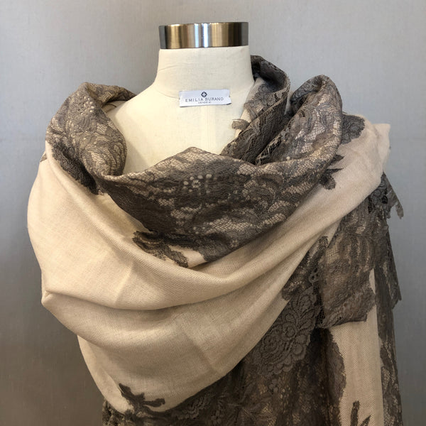 """TEATRO"" Wool & Silk scarf Taupe color"