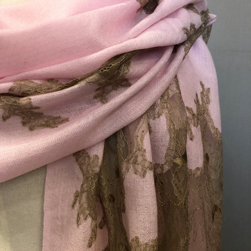 """Valentina"" Wool & Silk scarf light pink"