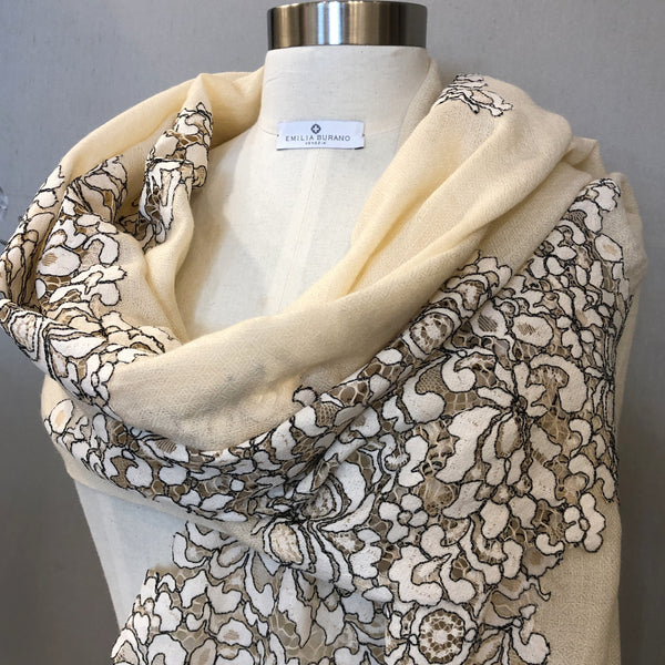 """BOUQUET"" Wool & Silk scarf"