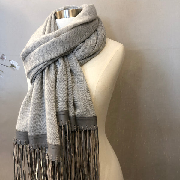"""TRECCIA"" Wool & Silk scarf Grey"
