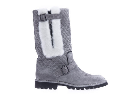 Grey Quilted Shearling Boot