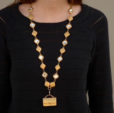 21 ways to wear a chanel vintage necklace chanel consignment chanel vintage quilted handbag necklace aloadofball Choice Image