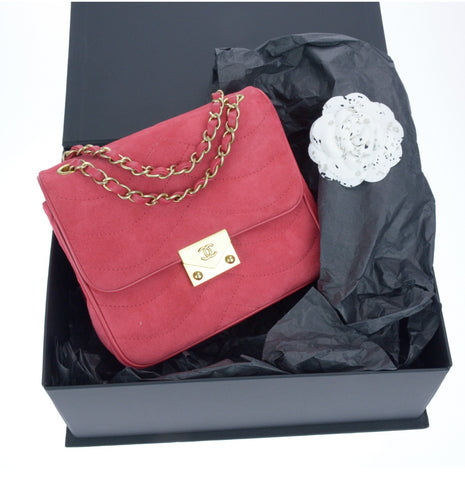 Chanel Suede Runway Mini Flap Bag With Box At Designer Vault