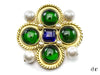 Chanel Vintage Green Blue Poured Glass Brooch - Designer Vault - 1