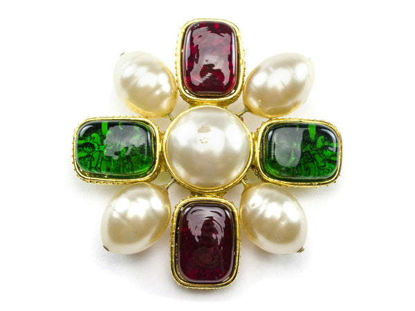 Chanel Vintage Green Red Gripoix Pearl Brooch