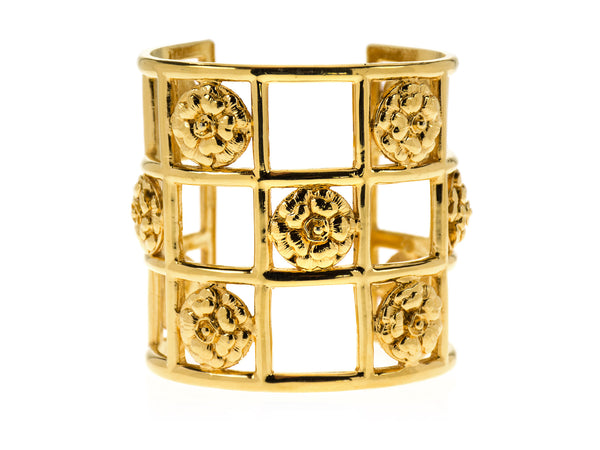 Chanel Vintage Caged Camellia Cuff