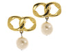 Chanel Vintage Double Link Pearl Drop Earrings - Designer Vault - 1