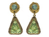 Chanel Vintage Green Triangle Dangling Earrings - Designer Vault - 1