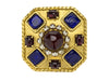 Chanel Vintage Multicolored Gripoix Pearl Square Brooch - Designer Vault - 1