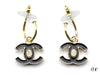 Chanel Black Enamel CC Drop Earrings - Designer Vault