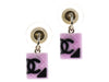 Chanel Pink CC Resin Quilted Stud Earrings - Designer Vault - 1