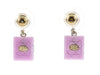 Chanel Pink CC Resin Quilted Stud Earrings - Designer Vault - 2