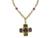 Chanel Vintage Purple Gripoix Cross Pendant Necklace - Designer Vault - 1