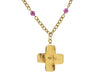 Chanel Vintage Purple Gripoix Cross Pendant Necklace - Designer Vault - 3