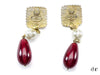 Chanel Vintage Red Gripoix Pearl Clip On Earrings - Designer Vault - 2