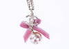 Chanel Pink CC Logo Ribbon Pearl Necklace - Designer Vault - 3