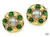 Chanel Vintage Pearl Green Gripoix Round Earrings - Designer Vault - 1