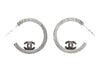 Chanel Clear CC Logo Swarovski Hoop Earrings - Designer Vault