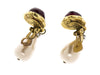 Chanel Vintage Red Gripoix Pearl Teardrop Earrings - Designer Vault - 3