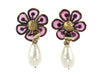 Chanel Early Vintage Rare Gripoix Floral Pearl Teardrop Earrings - Designer Vault