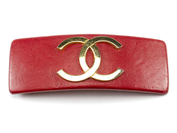 Chanel Red Leather CC Logo Hair Clip