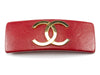 Chanel Red Leather CC Logo Hair Clip - Designer Vault - 1