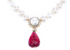 Chanel Vintage Crystal Pearl Ruby Drop Necklace - Designer Vault - 1