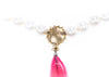 Chanel Vintage Crystal Pearl Ruby Drop Necklace - Designer Vault - 4