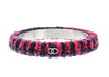 Chanel Red Blue Tweed CC Logo Bangle - Designer Vault - 1