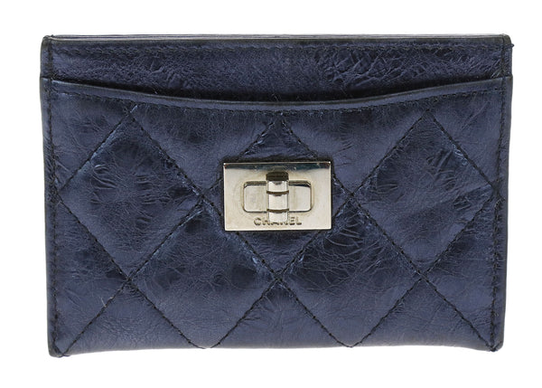 Chanel Metallic Blue Aged Calfskin Leather Reissue Card Case Holder