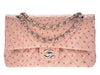 Chanel Pink Ostrich Medium Double Flap Bag - Designer Vault - 1