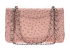 Chanel Pink Ostrich Medium Double Flap Bag - Designer Vault - 3