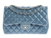 Chanel Slate Blue Lambskin Jumbo Double Flap Bag - Designer Vault - 1
