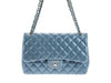 Chanel Slate Blue Lambskin Jumbo Double Flap Bag - Designer Vault - 4