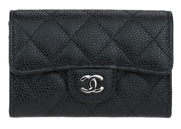 Chanel Small Black Caviar Leather Flap Wallet SHW