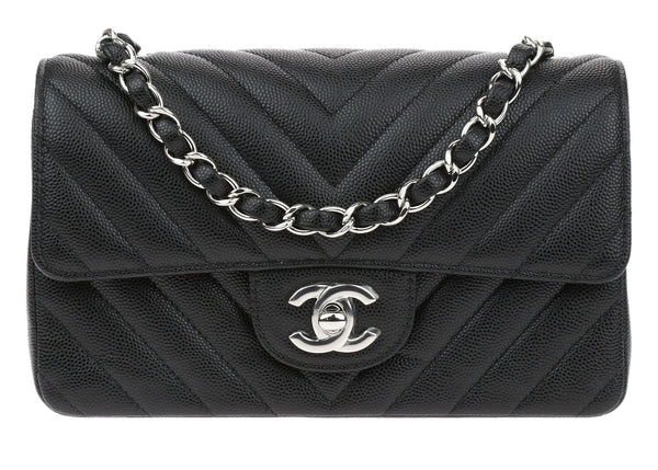 Chanel 17S Black Caviar Leather Chevron Quilted Rectangular Mini Flap Bag