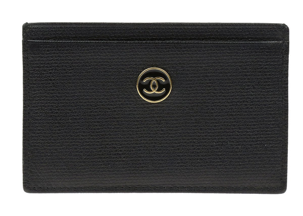 Chanel Vintage Black Caviar Leather Coco Button Card Case Holder