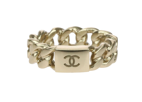 Chanel 15P Gold Chain CC Logo Ring