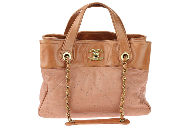Chanel Pink Calfskin In The Mix Small Shopping Tote