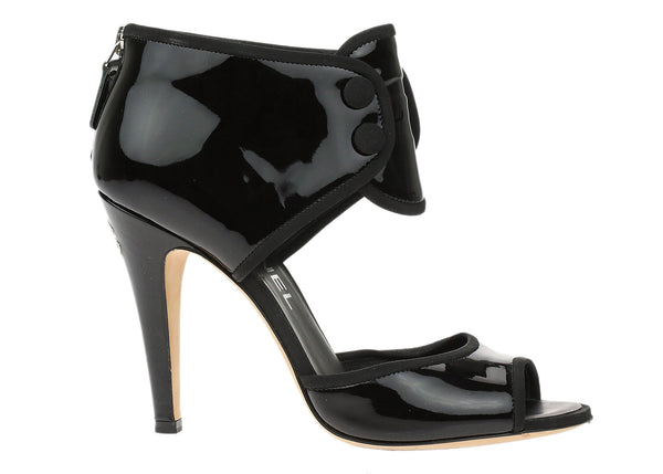 Chanel Black Patent Leather Double Button Ankle Cuff Heels Size 36.5