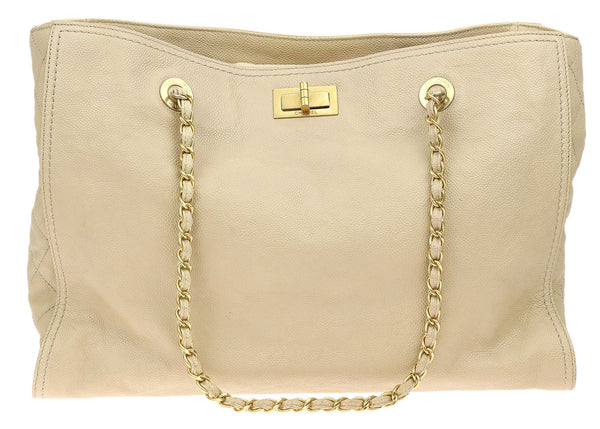 Chanel Beige Caviar Leather Large Edy Tote