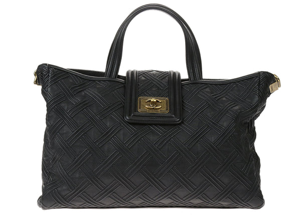 Chanel Black Calfskin Embossed Stitch Large Boy Shopping Tote